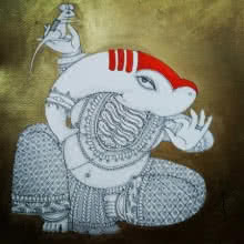 Religious Acrylic-ink Art Painting title 'Ganesh 2' by artist Samik De