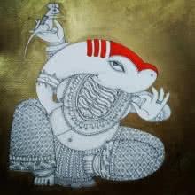 Ganesh 2 | Painting by artist Samik De | acrylic-ink | Paper