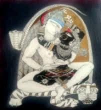 Religious Acrylic-ink Art Painting title 'Shiv Durga' by artist Samik De