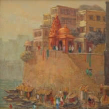 Cityscape Oil Art Painting title 'Banaras 1' by artist Yashwant Shirwadkar