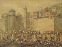 Cityscape Oil Art Painting title 'Banaras 10' by artist Yashwant Shirwadkar