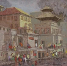 Cityscape Oil Art Painting title 'Banaras 3' by artist Yashwant Shirwadkar