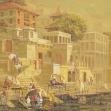 Cityscape Oil Art Painting title 'Banaras 4' by artist Yashwant Shirwadkar