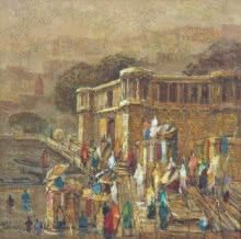 Cityscape Oil Art Painting title 'Banaras 6' by artist Yashwant Shirwadkar