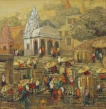 Cityscape Oil Art Painting title 'Banaras 7' by artist Yashwant Shirwadkar