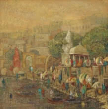 Cityscape Oil Art Painting title 'Banaras 8' by artist Yashwant Shirwadkar