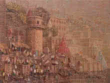 Cityscape Oil Art Painting title Banaras 9 by artist Yashwant Shirwadkar
