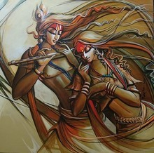 Religious Acrylic Art Painting title Radha Krishna 11 by artist Manoj Das