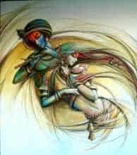 Radha Krishna 3   Painting by artist Manoj Das   acrylic   Canvas