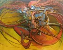 Religious Acrylic Art Painting title 'Radha Krishna 5' by artist Manoj Das