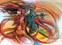 Religious Acrylic Art Painting title 'Radha Krishna 9' by artist Manoj Das