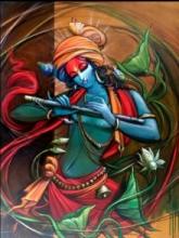 Manoj Das | Acrylic Painting title Krishna on Canvas | Artist Manoj Das Gallery | ArtZolo.com