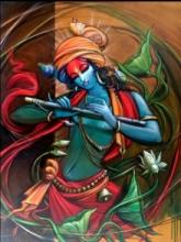 Religious Acrylic Art Painting title 'Krishna' by artist Manoj Das