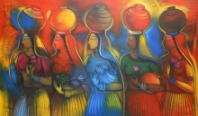 Religious Acrylic Art Painting title Gopis by artist Balaji Ubale