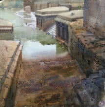 Place Watercolor Art Painting title 'Panchganga' by artist Harshwaradhan Devtale
