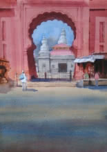 Cityscape Watercolor Art Painting title 'Tradition Does Exist' by artist Harshwaradhan Devtale