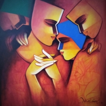 Figurative Acrylic Art Painting title The Soulmate by artist Nawal Kishore