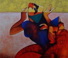 Figurative Acrylic Art Painting title 'Untitled 3' by artist Nawal Kishore