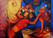 Figurative Acrylic Art Painting title 'Untitled 4' by artist Nawal Kishore