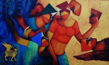 Figurative Acrylic Art Painting title 'Untitled 6' by artist Nawal Kishore
