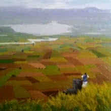 Landscape Oil Art Painting title 'Landscape 2' by artist Suraj Lohar