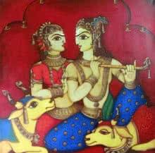 Religious Acrylic Art Painting title 'Radha Krishna 1' by artist Rahul Phulkar