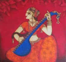 Figurative Acrylic Art Painting title 'Woman Playing Sitar' by artist Rahul Phulkar