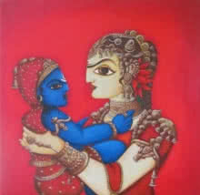 Figurative Acrylic Art Painting title 'Woman With Child' by artist Rahul Phulkar
