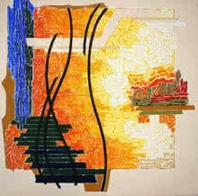 Veena Chitrakar | Acrylic Painting title Symphony in Yellow 3 on Canvas | Artist Veena Chitrakar Gallery | ArtZolo.com