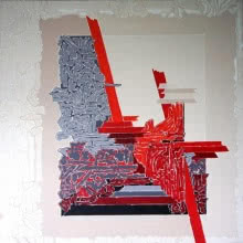 Veena Chitrakar | Acrylic Painting title Symphony in Red Grey on Canvas | Artist Veena Chitrakar Gallery | ArtZolo.com