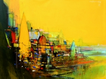 Cityscape Mixed-media Art Painting title 'Abstract Cityscape 7' by artist Dheeraj Yadav