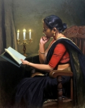 Figurative Oil Art Painting title Adoring The Beauty by artist Mahesh Soundatte