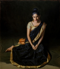 Figurative Oil Art Painting title Beauty 5 by artist Mahesh Soundatte