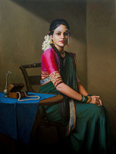 Figurative Oil Art Painting title Bridal by artist Mahesh Soundatte