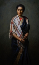 Figurative Oil Art Painting title 'Gayatri' by artist Mahesh Soundatte