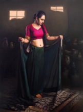Figurative Oil Art Painting title Shringar 3 by artist Mahesh Soundatte