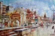 Landscape Watercolor Art Painting title 'Ghat' by artist Siddhanath Tingare