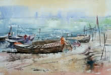 Landscape Watercolor Art Painting title 'River' by artist Siddhanath Tingare