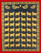 Traditional Indian art title Cows In Black And Gold on Cloth - Pichwai Paintings