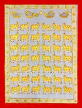 Traditional Indian art title Cows In Gray And Gold 2 on Cloth - Pichwai Paintings