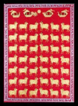 Unknown | Pichwai Traditional art title Cows In Red And Gold on Cloth | Artist Unknown Gallery | ArtZolo.com