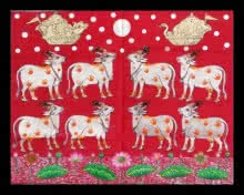 Unknown | Pichwai Traditional art title Gopashtami Cows In Silver Leafing Work on Cloth | Artist Unknown Gallery | ArtZolo.com