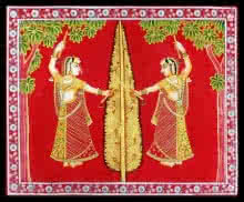 Unknown | Pichwai Traditional art title Gopi Vrindavan Pichwai on Cloth | Artist Unknown Gallery | ArtZolo.com