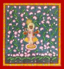 Unknown | Pichwai Traditional art title Krishna In Kamal Talai on Cloth | Artist Unknown Gallery | ArtZolo.com