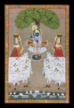 Unknown | Pichwai Traditional art title Krishna Playing His Flute Under The Tree on Cloth | Artist Unknown Gallery | ArtZolo.com