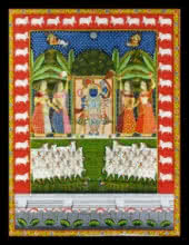 Traditional Indian art title Sharad Purnima 1 on Cloth - Pichwai Paintings