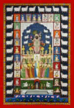Traditional Indian art title Shrinathji 24 Shringar on Cloth - Pichwai Paintings