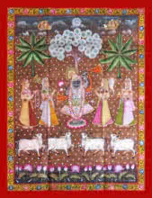 Traditional Indian art title Shrinathji Vanvihar on Cloth - Pichwai Paintings