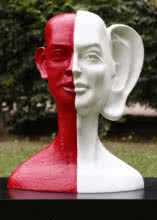 Fiberglass Sculpture titled 'My Voice 4' by artist Vivek Kumar