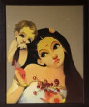 Renuka Fulsounder | Oil Painting title Mother And Child on Canvas | Artist Renuka Fulsounder Gallery | ArtZolo.com